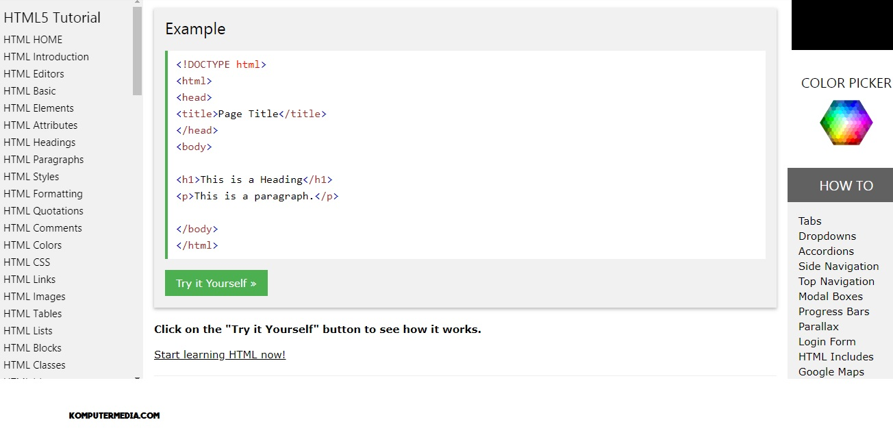 Situs Untuk Belajar HTML Gratis