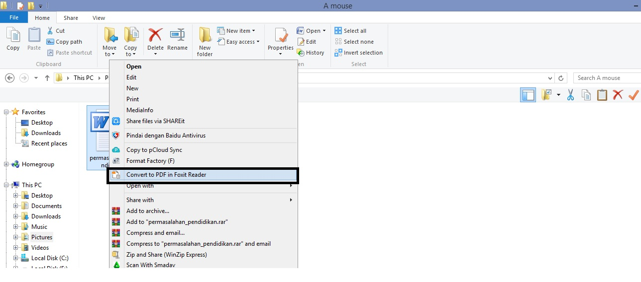 Convest to PDF in Foxit Reader