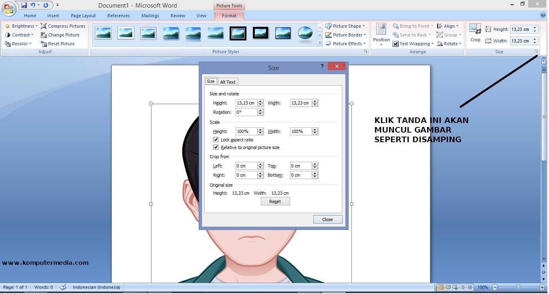 Cara Mengubah Ukuran Foto 3x4 di Microsoft Word